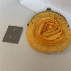 NWT Anthropologie Yellow Rose Clasp Clutch